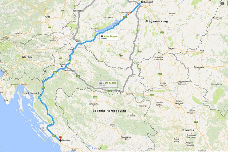 Budapest-Skradin 670 km