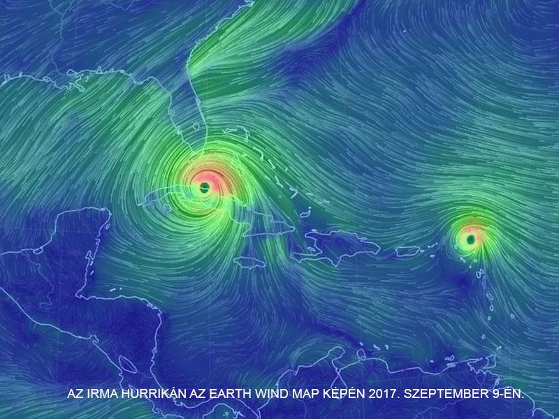 Az Irma hurrikán az Earth Wind Map képén 2017. szeptember 9-én.