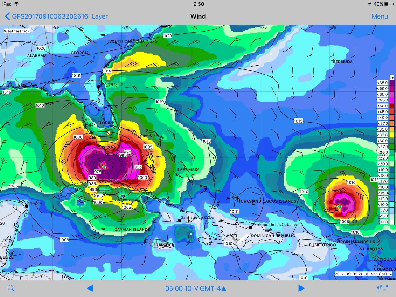 Az Irma hurrikán képe a WeatherTrack előrejelzési térképén 2017. szeptember 10-én reggel.