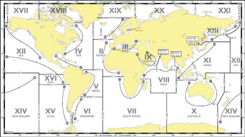 NAVAREA területek a világban